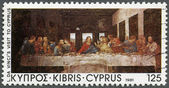 "CYPRUS - 1981: shows ""The Last Supper"", by Da Vinci, Da Vinci's visit to Cyprus, 500th anniversary — Stock fotografie"