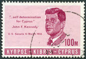 "CYPRUS - 1965: shows president John F. Kennedy (1917-1963), citation from his speech in US Senate 13 march 1956 ""... self determination for Cyprus"" — Stock Photo"