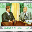 AJMAN - 1970: shows President Dwight D. Eisenhower (1890-1969) and John F. Kennedy (1917-1963) — Stock Photo