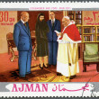 AJMAN - 1970: shows President Dwight D. Eisenhower (1890-1969) and Pope John XXIII (1881-1963) — Stock Photo