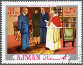 AJMAN - 1970: shows President Dwight D. Eisenhower (1890-1969) and Pope John XXIII (1881-1963) — ストック写真