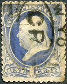 UNITED STATES - 1870's: shows President Benjamin Franklin — Stock Photo