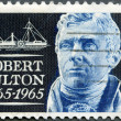 Stock Photo: US- 1965: shows Robert Fulton (1765-1815) and Clermont, inventor of 1st commercial steamship