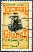 USA - 1967: shows Grange Poster, 1870, Centenary the founding of the National Grange, American farmers organization — Stock Photo