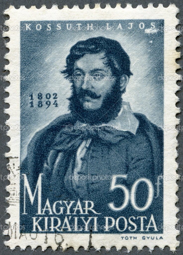 HUNGARY - CIRCA 1944: A stamp printed in Hungary shows Louis (Lajos) Kossuth (1802-1894), circa 1944 — Stock Photo #12838056