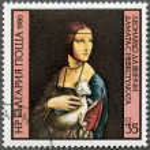 "BULGARIA - 1980: shows ""Lady with the Ermine"" by Leonardo da Vin — Stock Photo"