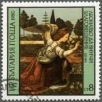 "BULGARIA - 1980: shows ""Annunciation"" by Leonardo da Vinci — Stock Photo"