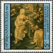 "BULGARIA - 1980: shows ""Adoration of the Magi"" by Leonardo da Vinci — Stock Photo"
