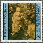 "BULGARIA - 1980: shows ""Adoration of the Magi"" by Leonardo da Vinci — Stock Photo"