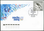 RUSSIA - 2011: shows XXII Olympic Winter Games in Sochi 2014, Olympic winter Sports, Ski jumping — Stock Photo