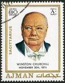 AJMAN - 1970: shows Winston Churchill (1874-1965) — Stock Photo