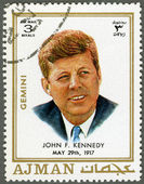 AJMAN - 1970: shows John F. Kennedy (1917-1963) — Stock Photo
