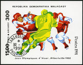 MALAGASY REPUBLIC - 1991: shows Three hockey players, 1992 Winte — Stock Photo
