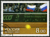 RUSSIA - 2003: shows Tennis ball and fans on tribunes, on court of a hall of Bercy - Winners of the Davis Cup 2002 — Stock Photo