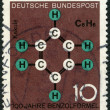 GERMANY - 1964: shows Benzene Ring, Kekule's Formula, centenary of benzene formula by August Friedrich Kekule — Stock Photo