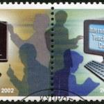 CYPRUS - 2002: shows Blackboard and teachers, Computer and teachers, International Teacher's Day — Stock Photo