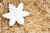 Christmas gingerbread cookie made in the shape of a snowflake — Stock Photo