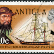 ANTIGUA - 1970: shows Blackbeard (Edward Teach) and pirate ketch — Stockfoto #15388341