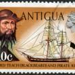 ANTIGUA - 1970: shows Blackbeard (Edward Teach) and pirate ketch — Zdjęcie stockowe