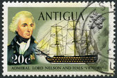 "ANTIGUA - 1970: shows Admiral Nelson and ""Victoria"" — Stock Photo"