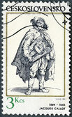 CZECHOSLOVAKIA - 1982: shows Hurdygurdy Player, by Jacques Callot (1594-1635) — Stock Photo