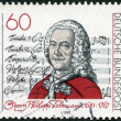 "GERMANY - 1981: shows Georg Philipp Telemann (1681-1767), Title Page of ""Singet dem Herrn"" Cantata - Stock Photo"