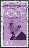 GERMANY - 1968: shows Pierre de Coubertin (1863-1937), dedicated to 19th Olympic Games, Mexico City, 10/12-27 — Stock Photo