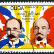CUBA - 1974: shows Jose Marti, Vladimir Lenin, flags, devoted Visit of Leonid I. Brezhnev to Cuba, January 28-February 3 — 图库照片 #15805381