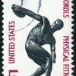 Stock Photo: US- 1965: shows Discus thrower, Importance of physical fitness of founding of Sokol (athletic) organization in America