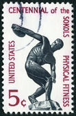 USA - 1965: shows Discus thrower, Importance of physical fitness of the founding of the Sokol (athletic) organization in America — Stock Photo