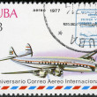 Stok fotoğraf: CUB- 1977: shows vintage airplane and Havana-Mexico cachet, series International Airmail Service, 50th Anniversary