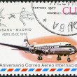 Royalty-Free Stock Photo: CUBA - 1977: shows Jet aircraft and Havana-Madrid cachet, Apr.26, 1948, series International Airmail Service, 50th Anniversary