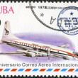 CUBA - 1977: shows vintage airplane and Havana-Prague cachet, series International Airmail Service, 50th Anniversary — Stock Photo