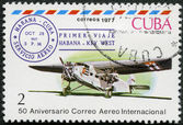 CUBA - 1977: shows Three-engine plane and Cuba-Key West 1st flight cancel, Oct. 28, 1927, series International Airmail Service, 50th Anniversary — Stock Photo