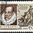 USSR - 1966: shows portrait of Miguel de Cervantes Saavedra (1547-1616), Spanish writer, and Don Quixote — Stock Photo #16494033