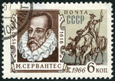 USSR - 1966: shows portrait of Miguel de Cervantes Saavedra (1547-1616), Spanish writer, and Don Quixote — Stock Photo