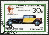 NORTH KOREA - 1986: shows Ettore Bugatti and Royal coupe, 1928, series History of the Motor Car — Stock Photo