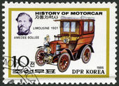 NORTH KOREA - 1986: shows Amedee Bollee and Limousine, 1901, series History of the Motor Car — Stock Photo
