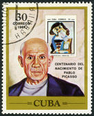 CUBA - 1981: shows Pablo Picasso (1881-1973), artist, birth centenary, and postage stamp shows The Man with the Pipe, by Picasso, 1967 — Stock Photo