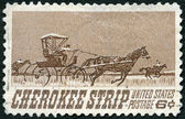 USA - 1968: shows Homesteaders Racing to Cherokee Strip, 75th anniversary of the opening of the Cherokee Strip to settlers, Sept. 16, 1893 — Stock Photo