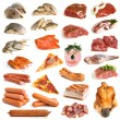 Collection of meat and seafood — Stock Photo