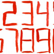 Painted red watercolor numbers — Stock Photo