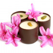 Chocolate sweets with pink flowers of hyacinth — Stock Photo