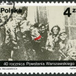 POLAND - 1984: shows Polish partisans from the Miotla battalion of the Armia Krajowa, photo taken by Jerzy Tomaszewski on 2nd September 1944, devoted 40th anniversary of Warsaw Uprising - Stock Photo