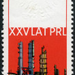 POLAND - 1969: shows Oil refinery-chemical plant, Plock and Embossed Arms of Poland, devoted 25th anniversary of the Polish 's Republic — Stock Photo