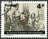 POLAND - 1984: shows Polish partisans from the Miotla battalion of the Armia Krajowa, photo taken by Jerzy Tomaszewski on 2nd September 1944, devoted 40th anniversary of Warsaw Uprising — Stock Photo