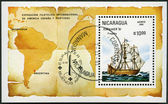 NICARAGUA - 1981: shows Frigate, Espamer '81 Stamp Exhibition, Buenos Aires, Nov. 13-22 — Stock Photo