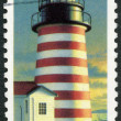 USA - 1990: shows West Quoddy Head, Maine, series Lighthouses — Stock Photo