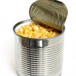 Open metallic can with sweet corn — Stock Photo