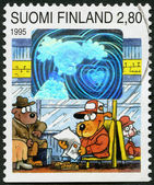 """FINLAND - 1995: shows """"Dog Hill Kids"""", sending/receiving greetings: On bus, girl friend — Stock Photo"""